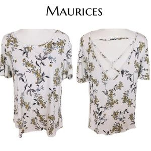 🎀 Maurices 24/7 White Yellow Floral  Top- L